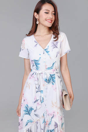 Floral Wonderland Midi Dress in White