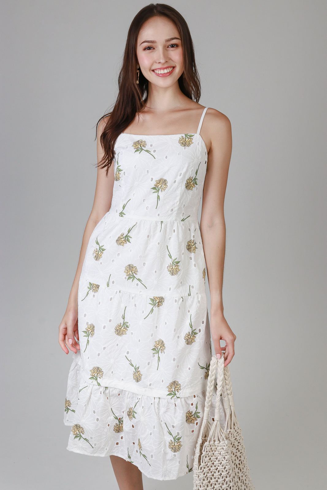 Sunshine Eyelet Midi Dress in Yellow Florals (2-Way)