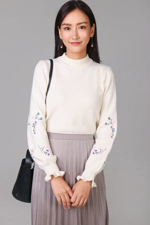 Floral Sleeve Turtleneck Sweater