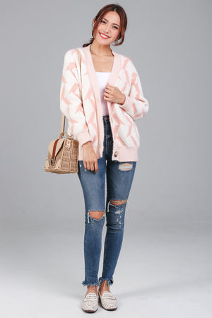 Fluffy Patterned Knit Cardi in Pink