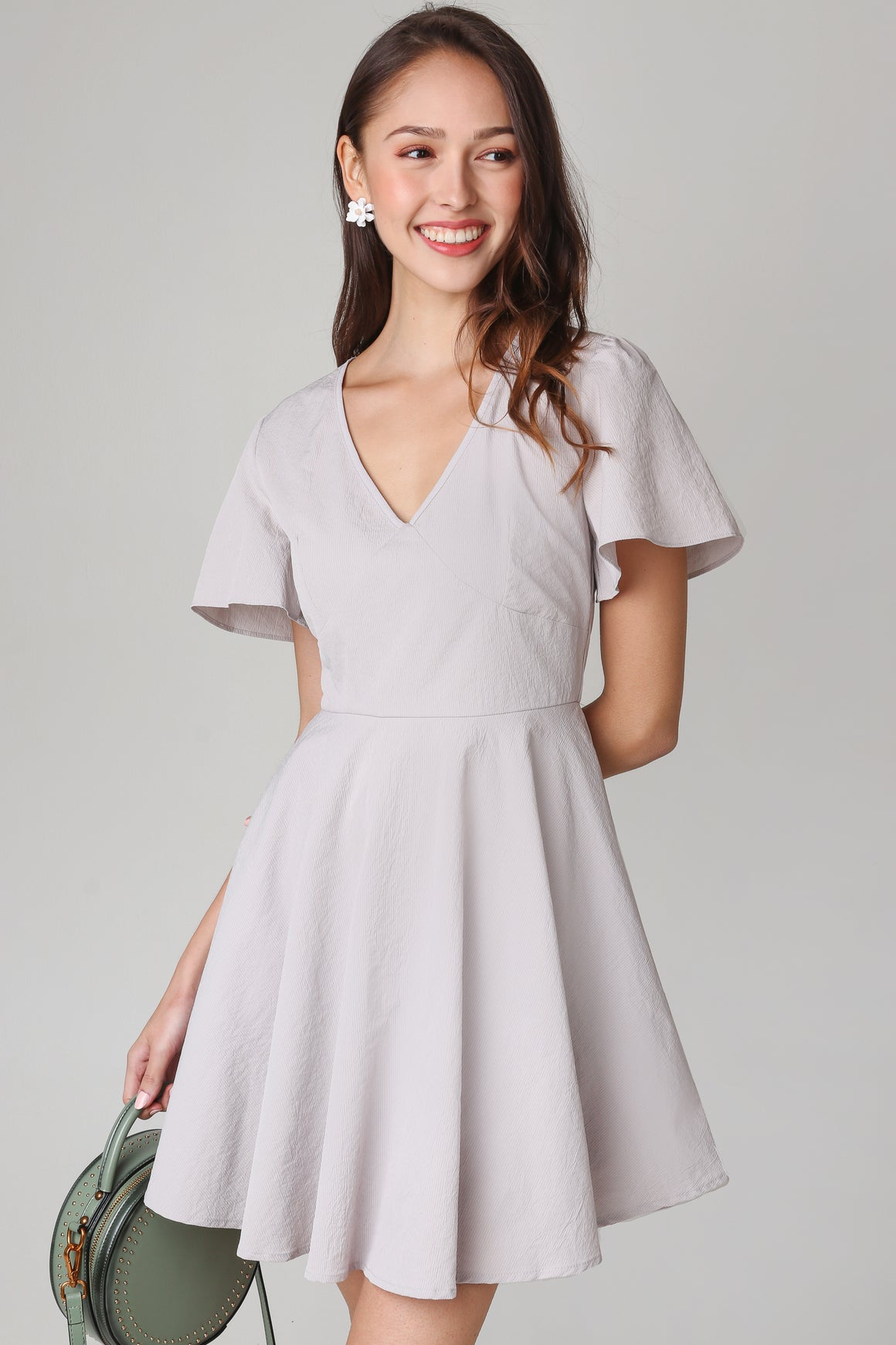 Valeria Flutter Sleeve Dress in Oatmeal
