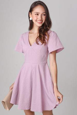 Valeria Flutter Sleeve Dress in Pink