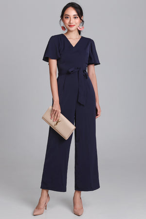 Revelry Flutter Sleeve Jumpsuit in Navy