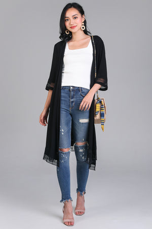 Restocked* Free Spirit Kimono Duster in Black