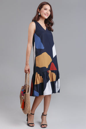 Fruity Pebbles Drophem Dress in Navy