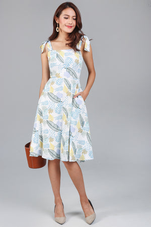 Garden Party Tie Strap Dress in Yellow