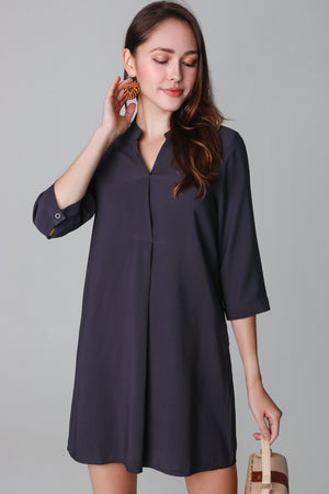 Gerra V-Neck Shirt Dress in Dark Grey