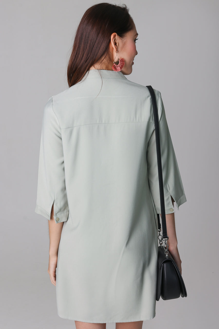 Gerra V-Neck Shirt Dress in Sage