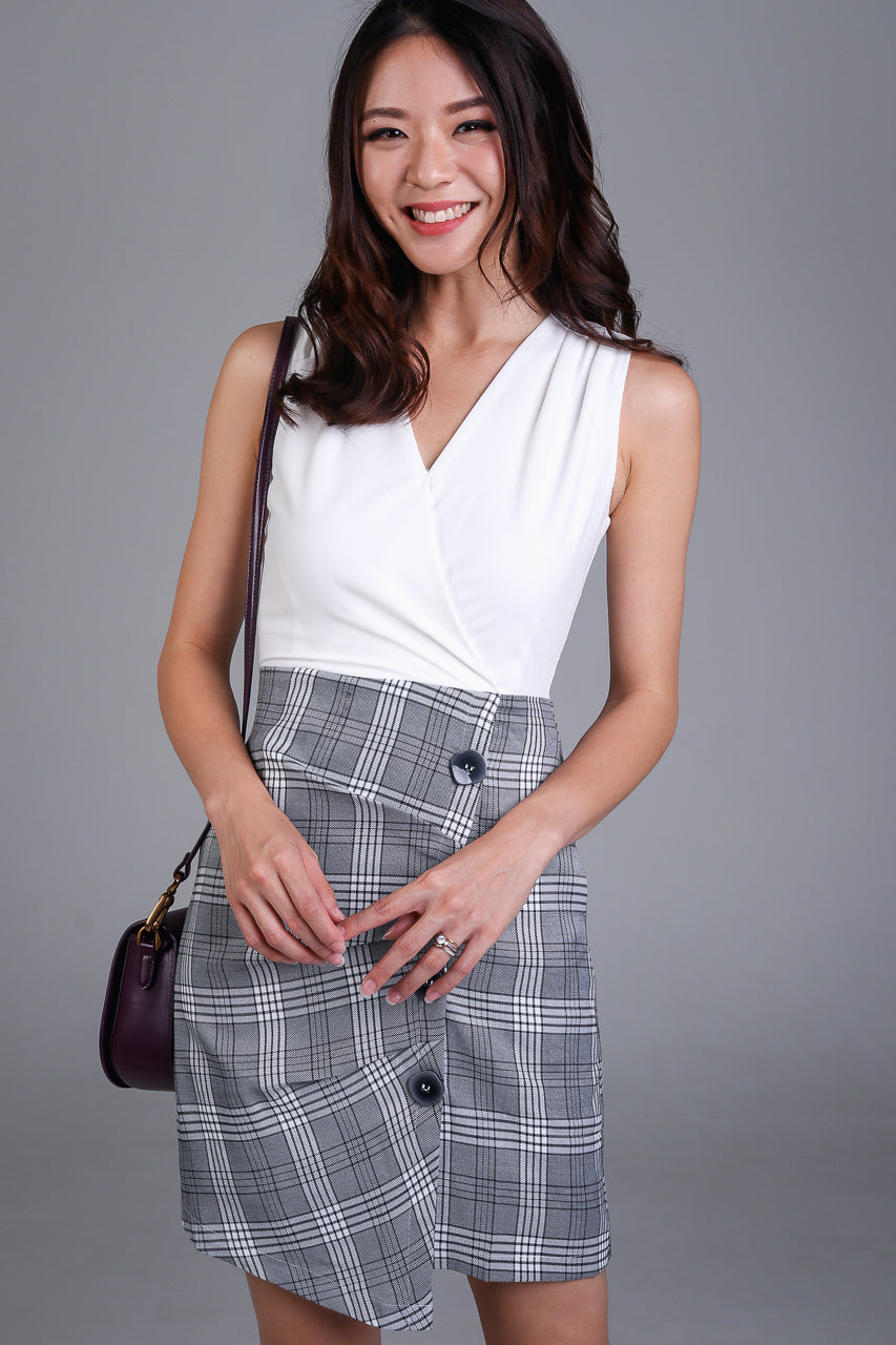 Gingham V-Neck Dress in White