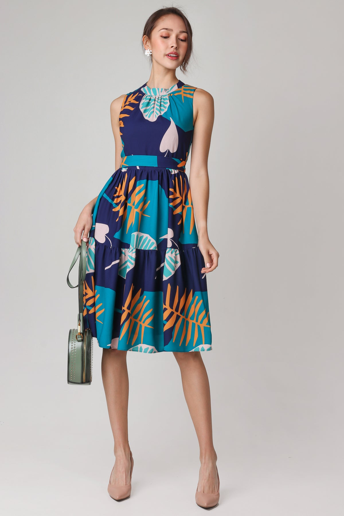Paradise High-neck Dress in Navy