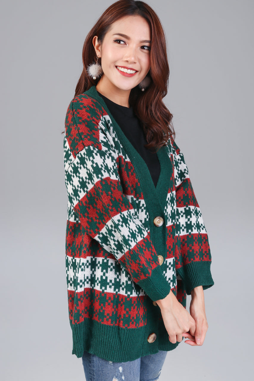 Houndstooth Knit Cardigan in Forest