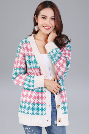 Houndstooth Knit Cardigan in Pink