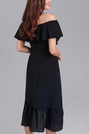 Janis Off-Shoulder Ruffle Dress in Black