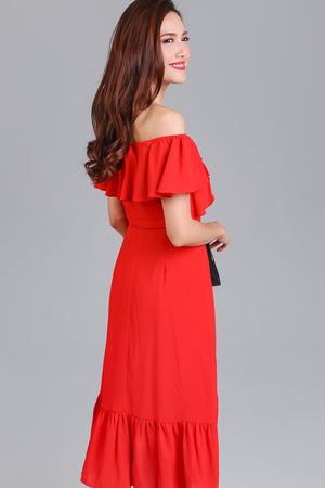 Janis Off-Shoulder Ruffle Dress in Red