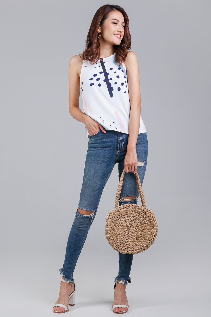 Jubilee Graphic Top in White