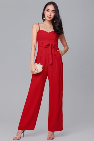 Restocked* Tall Order Jumpsuit in Red