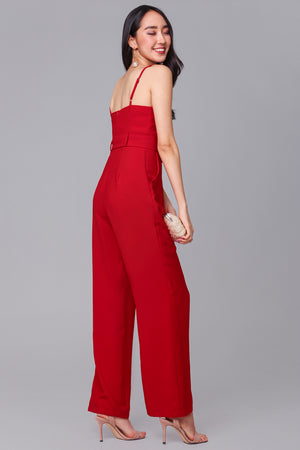 Backorder* Tall Order Jumpsuit in Red