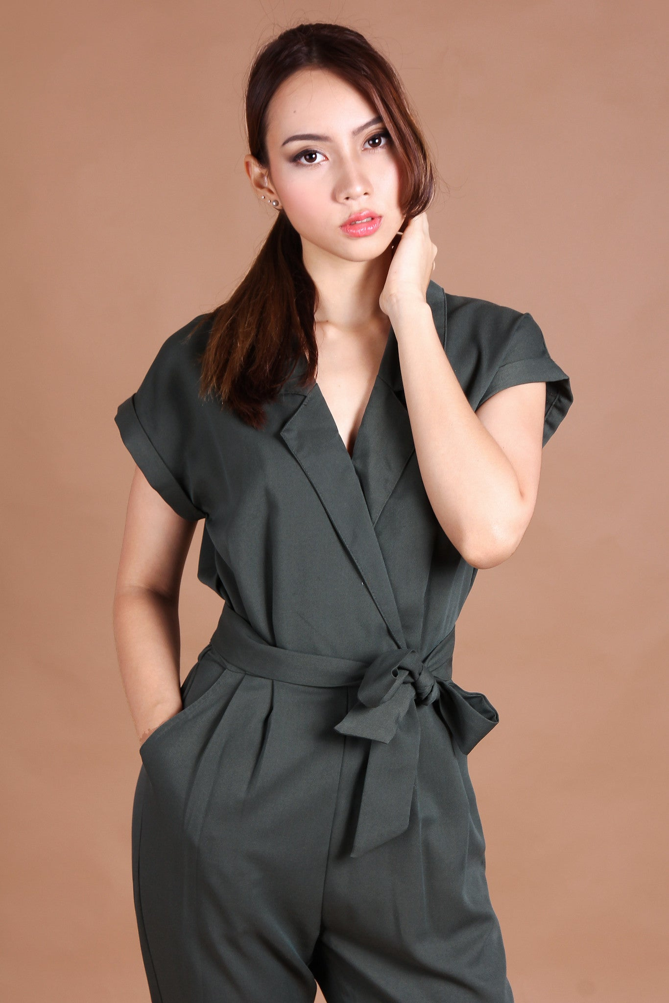 Stephanie Utility Jumpsuit in Olive