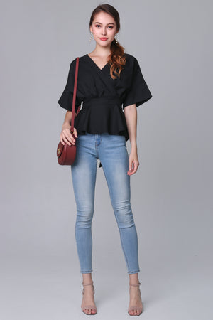 Backorder* Leanne Batwing Kimono Top in Black