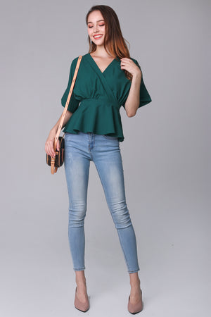 Backorder* Leanne Batwing Kimono Top in Forest
