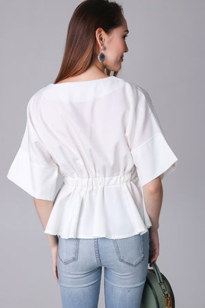 Backorder* Leanne Batwing Kimono Top in White