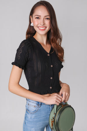 Eyelet Knit Top in Black