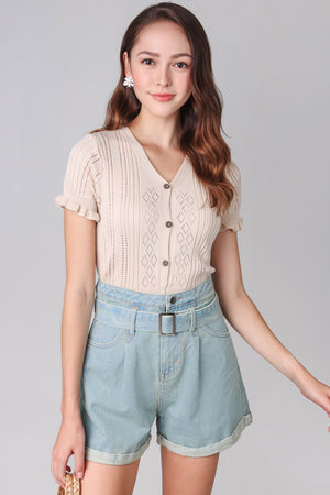 Eyelet Knit Top in Cream