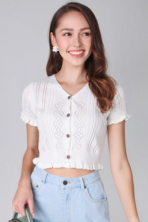 Eyelet Knit Top in White
