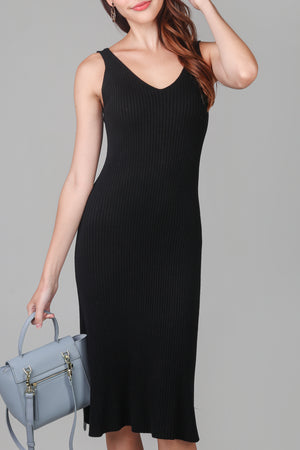 Restocked* V-neck Knit Midi Dress in Black