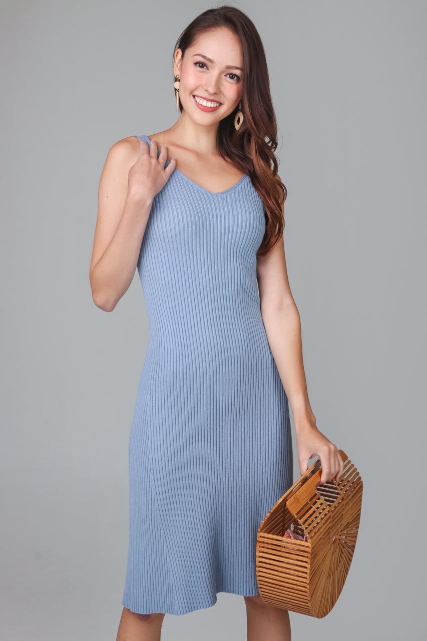 V-neck Knit Midi Dress in Blue