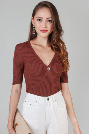 Textured Knit Wrap Top in Chocolate