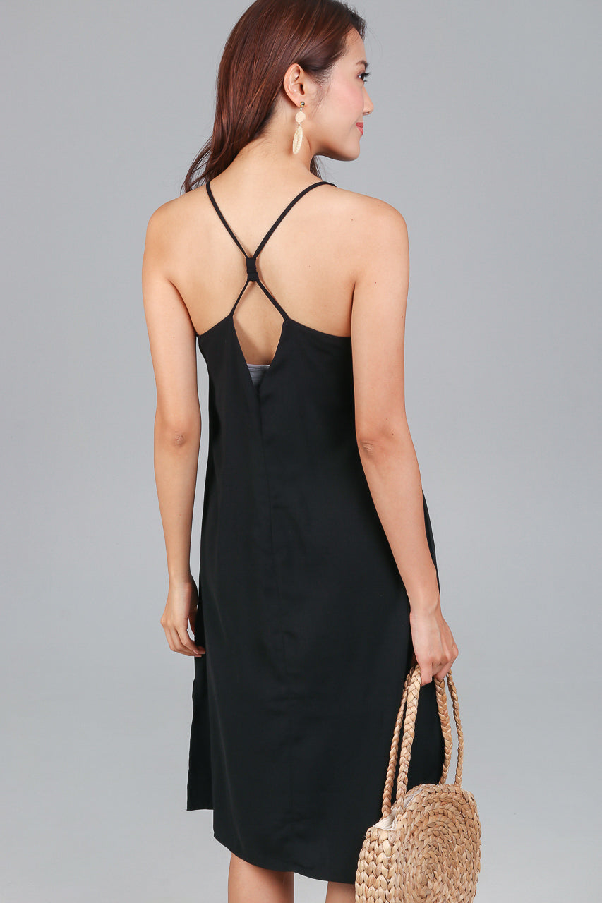 Restocked* Knot Back Slip Dress in Black
