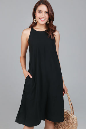 Knot Back Slip Dress in Black