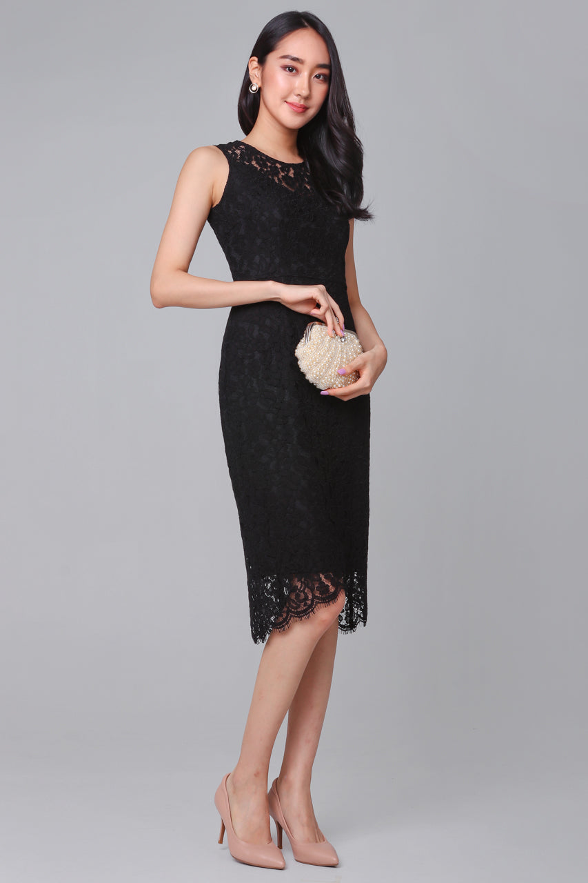 Exquisite Creation Lace Dress in Black