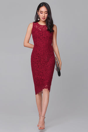 Exquisite Creation Lace Dress in Wine