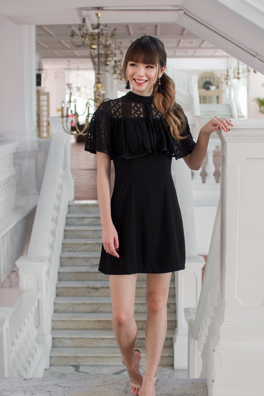 Lorraine Lace Cape Dress in Black