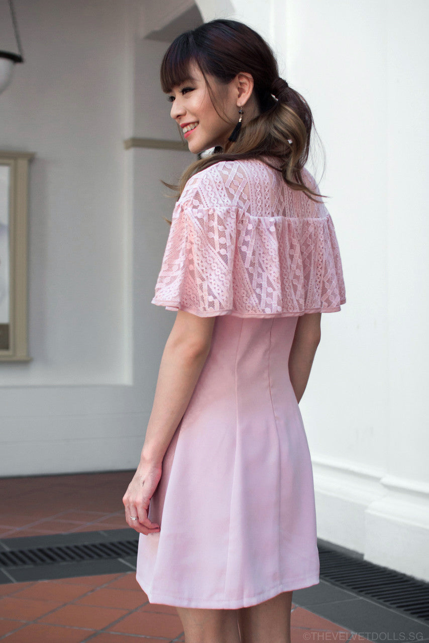 Lorraine Lace Cape Dress in Pink
