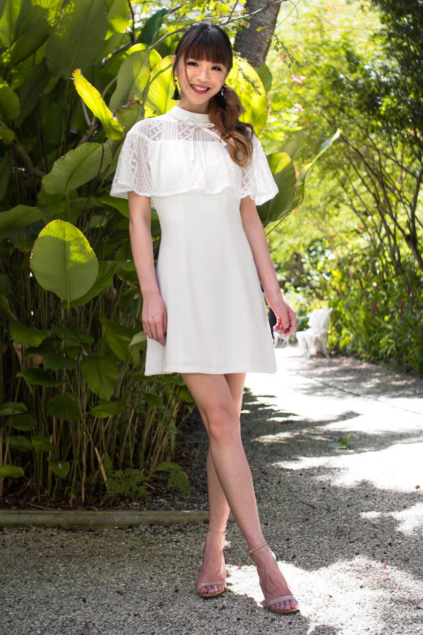 Lorraine Lace Cape Dress in White