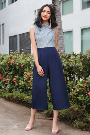Val Lace Cheongsam Jumpsuit in Ash Blue