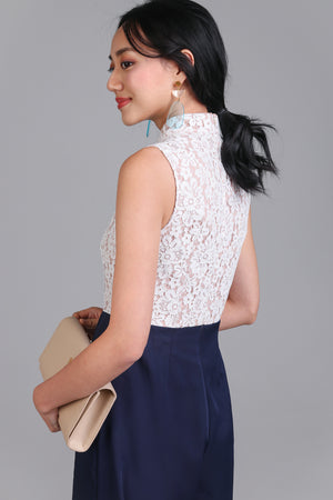 Val Lace Cheongsam Jumpsuit in Navy