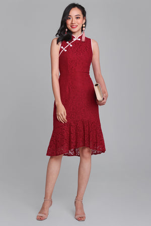 Timeless Flair Mermaid Cheongsam in Wine