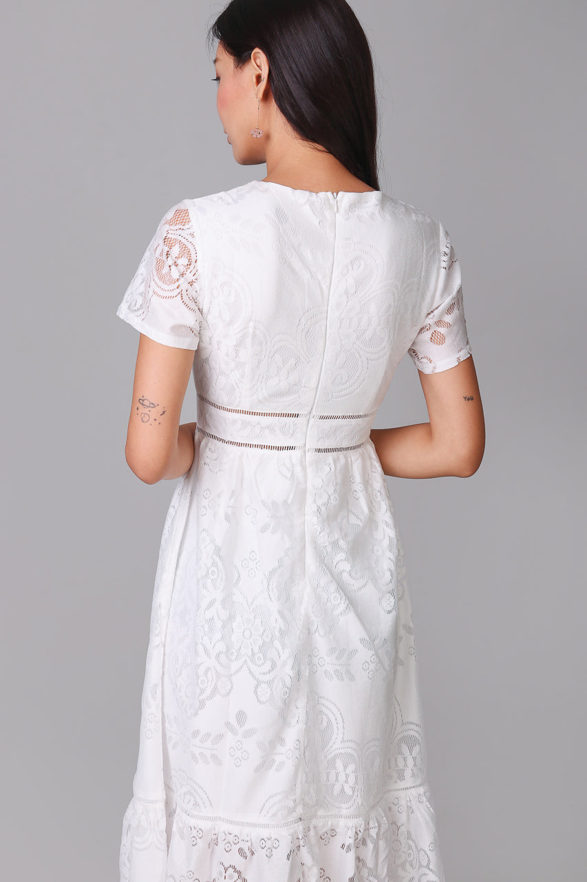 Mary Poppins Lace Midi Dress in White