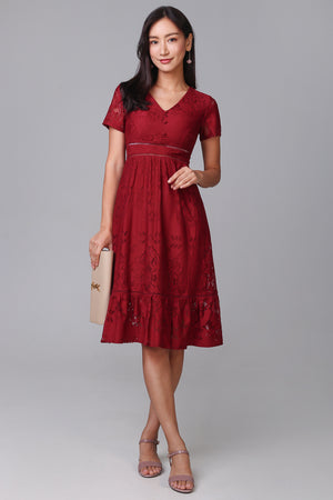 Mary Poppins Lace Midi Dress in Wine