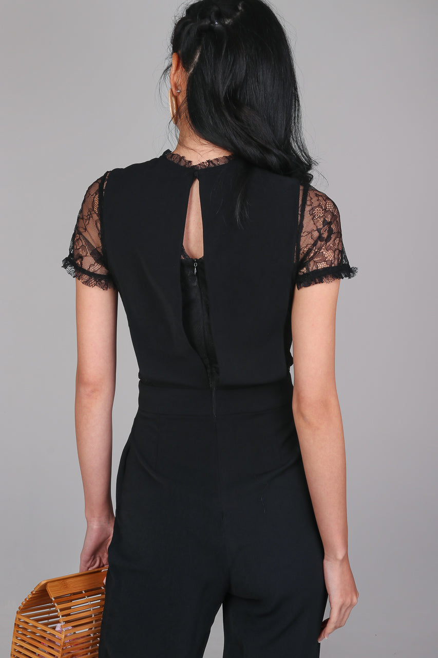 Paige Lace Pinafore Jumpsuit in Black