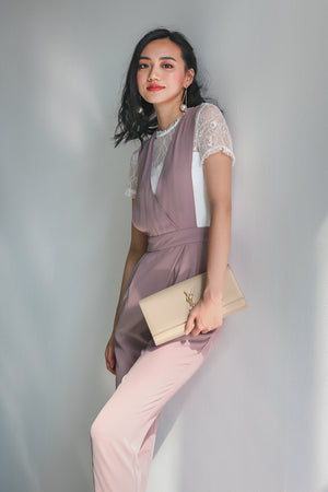 Paige Lace Pinafore Jumpsuit in Mauve