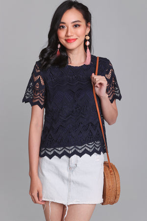 Charmed Life Crochet Tee in Navy
