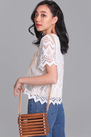 Charmed Life Crochet Tee in White