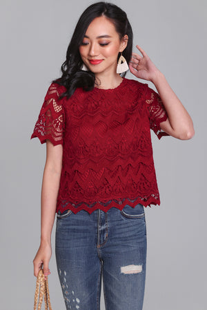 Charmed Life Crochet Tee in Wine