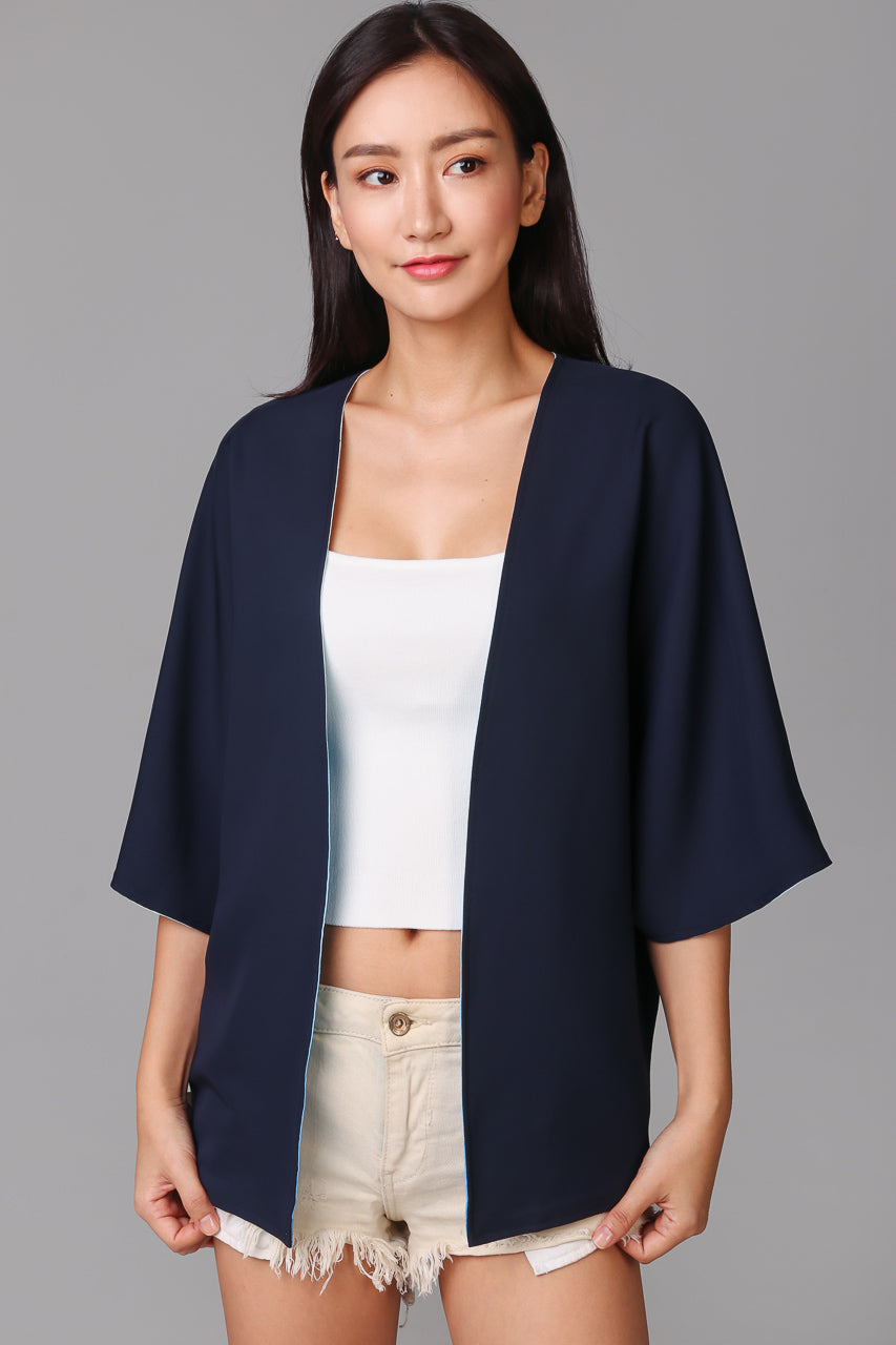 Restocked* Landscapes Kimono Jacket in Blue Sapphire (Reversible)