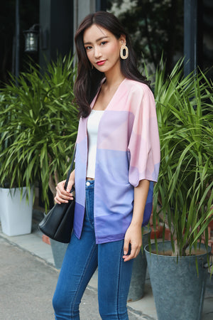 Landscapes Kimono Jacket in Rose Quartz